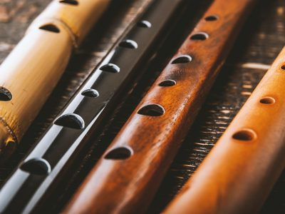 Set of flutes on the wooden table horizontal